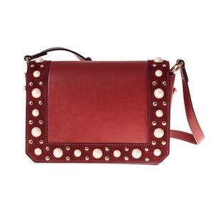 Sandro Red Pearly Leather Cross-Body Bag